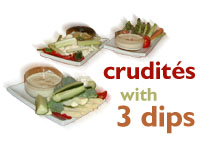 Crudites with 3 dips