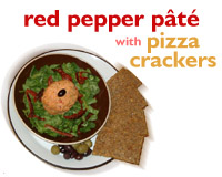 Red pepper pate with pizza crackers